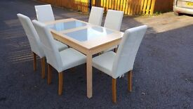 Extending Table Frosted Glass & 6 Real Leather Chairs FREE DELIVERY (03441)