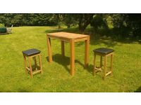 Solid oak bar-height table , L-120cm, W-61cm, H-100cm, with 2 bar-stools, H-70cm.