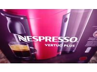 Red nespresso vertuo plus coffee machine and x60 variety of coffee capsules