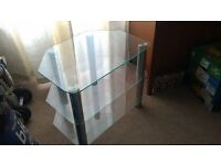 Silver chrome glass 3 tier TV stand