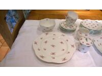 Fine Bone China - SHELLEY Rosebud Fluted dainty shape - many pieces of pink/green tea service