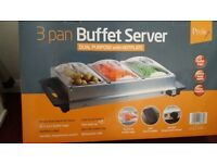 Buffet Server 3 x 2.4L buffet trays with dual purpose hotplate, ideal Christmas or dinner parties