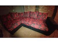 Corner Unit Sofa/Settee - Red & Black