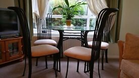 Wrought Iron Glass Table and chairs