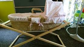 Claire de lune pink moses basket with stand and sheets
