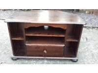 Two TV Units / Stands One Oak & One Dark Mahogany in Solid Original Condition