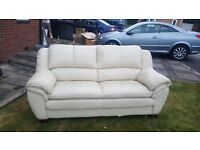 Sofa and 2 armchairs £50 cream leather slight rip to bottom of settee