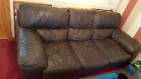 Brown leather 3 peice suite with matching chair and foot stool. Excellent condition