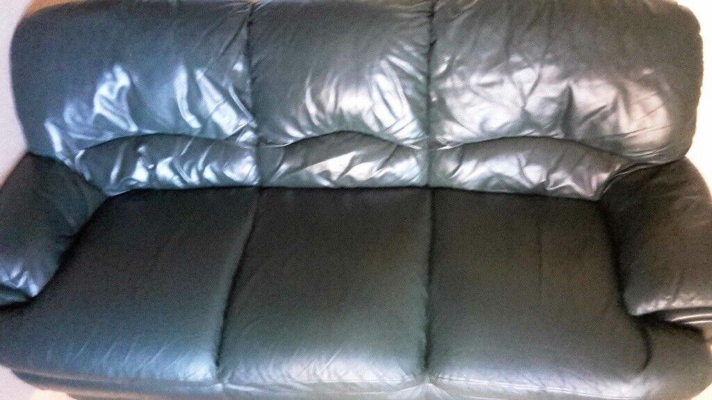 Free green leather 3 seater sofa