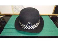 Vintage Metropolitian Police WPC Hard Bowler Hat by C.W. Headware with Ribbon & Enamel Badge