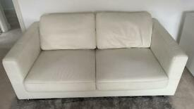Delux Deco White 2 seater leather sofa