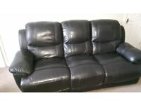 Black Leather 3 Seat Electric sofa with two foot and back rests