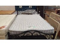 Metal black double bed frame with mattress