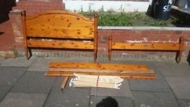 double bed wood carale colour very strong wood GOOD CONDITION