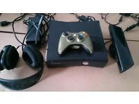 XBOX 360S WITH 23 DOWNLOADED GAMES, KINECT, HALO CONTROLLER AND HEADSET