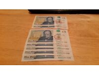 5 pound notes AK 45 AD 01 / AD 53 five consecutive numbers