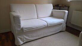 2 Seat Sofa White Fabric Comfy Compact in Great Condition