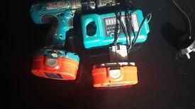 makita 18v drill with 2 batteries