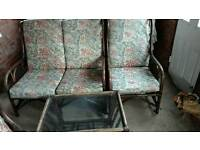 Cane furniture for sale and table