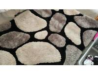 💖beautiful black and grey deep pile pebble rug