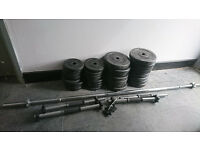 Dumbbell Set - Long Barbell straight Bar + 4 x Spinlock Bars + 55kg weight Home Gym