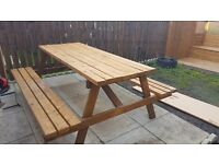 Large garden table with 2 benches