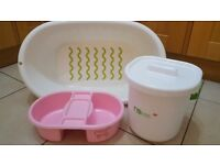 Baby bath, mothercare nappy pail and top n tail bowl