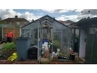 ALUMINIUM GREENHOUSE 12' X 8' GOOD CONDITION FULLY GLAZED 4 TOP OPENERS 2 SIDE VENTS
