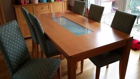 dining table and 6 fabric chairs, side board and display cabinet