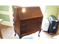 Mahogany Bureau Office Desk Drop Leaf Cabinet with Drawers