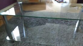 Two tier glass table