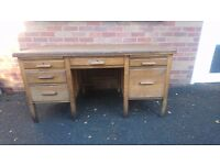 FABULOUS VINTAGE 1940S ASTROLA OAK MAHOGANY LINED INLAID TOP INDUSTRIAL LARGE OFFICE DESK UNMOLESTED