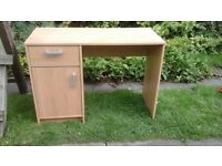 Computer desk with cupboard and draw