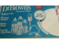 Dr Brown's natural flow blue gift set