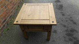 Solid pine Coffee / Side Table, Rustic finish with iron style fixings.