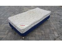 Single Divan Bed c/w Sprung Base, LAYEZEE BEDS 'Othello' Mattress and 4 x Legs with Castors