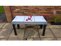 Bar football / pool table with full set balls 3 cues, chalk, triangle / electric powered air hockey