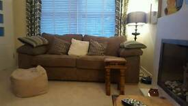 2 & 3 seater beige chunky cord sofas and footstool