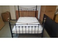 NEW Victoria Double Bed Brass & Metal Satin Black Bed by Julian Bowen **Can Deliver**