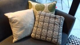 3 contemporary cushions - grey, green and cream