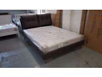 KING SIZE GREY FABRIC DESIGNER BED WITH PILLOW BACK HEADBOARD & ORTHOPAEDIC MATTRESS CAN DELIVER