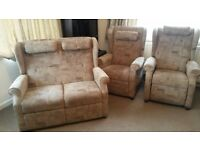2 Riser Armchairs and Matching 2 Seater Sofa