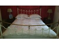 King size metal bed surround in cream and brass