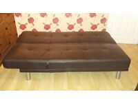 Faux leather brown sofa bed (SOLD)