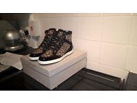 Jimmy Choo 151 Tokyo Leopard laser cut cork sneaker EUR size 38 UK 5 FREE UK DEL