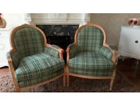 2 French chairs one needs some tlc damaged cushion ,overall good condition,£50 for the pair