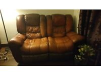 2 piece leather sofa set - 2 seater and 3 seater - recliners