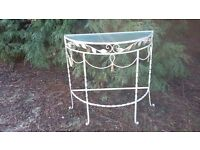 Vintage Retro Painted Shabby Chic Demi Lune Side Table Conservatory Garden Furniture