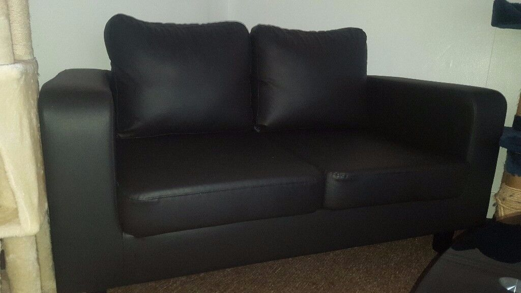 Leather black sofa two seats NEW