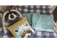 Barely used single duck egg raccoon bedding and cushions